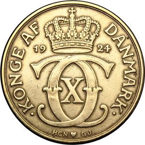 obverse: Denmark.  Christian X (1912-1947).. 2 kroner 1924