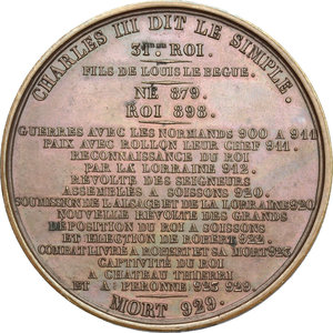 reverse: France.  Charles the Simple (879-929). Medal 1839, serie le Rois de France