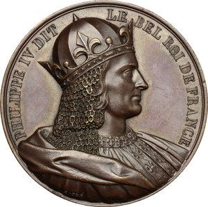 obverse: France.  Philip IV (1268-1314), called the Fair.. Medal 1837, serie le Rois de France
