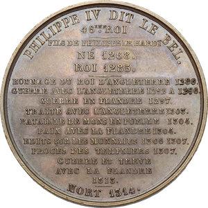 reverse: France.  Philip IV (1268-1314), called the Fair.. Medal 1837, serie le Rois de France