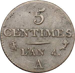 reverse: France.  First Republic. 5 centimes l an 4