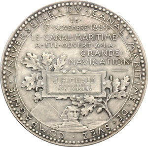 reverse: France. Medal commemorating the opening of the Suez Canal on 17 November 1869