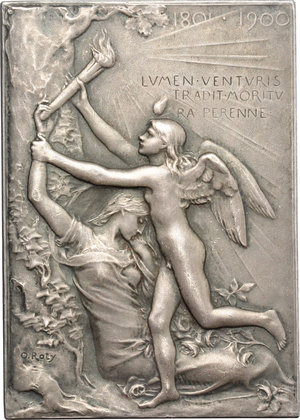 reverse: France. Silver plaquette for The Exposition Universelle of 1900