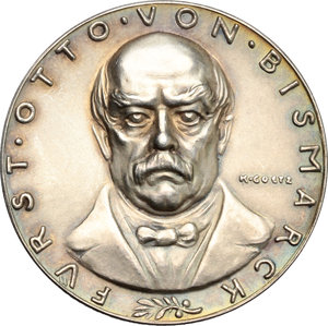 obverse: Germany.  Otto von Bismarck (1815-1898), first Chancellor of the German Empire.. Silver Medal 1928, commemorating 30th anniversary of death