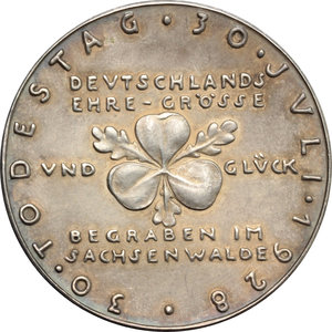 reverse: Germany.  Otto von Bismarck (1815-1898), first Chancellor of the German Empire.. Silver Medal 1928, commemorating 30th anniversary of death
