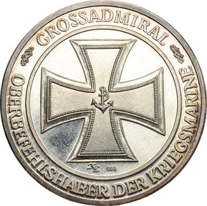 reverse: Germany.  Carl Donitz (1891-1980), Great Admiral for the German navy during World War II.. Medal 1981