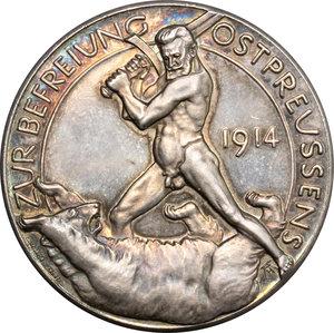 reverse: Germany.  Paul von Hindenburg (1914-1919), General field marshal.. Silver Medal (1914) \