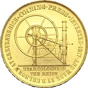 Great Britain. Medal 1851, for the Exhibition of Industry, commemorating the invention of coining press dated 1817