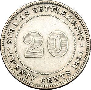 reverse: Great Britain.  Victoria (1837-1901). 20 cents 1890- British India Government