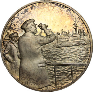 obverse: Great Britain.  Sir Winston Churchill (1874-1965), British politician, army officer and Prime Minister of the United Kingdom.. Churchill Centenary Medal 1974, for the mobilisation of the Fleet 30th July 1914