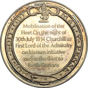reverse: Great Britain.  Sir Winston Churchill (1874-1965), British politician, army officer and Prime Minister of the United Kingdom.. Churchill Centenary Medal 1974, for the mobilisation of the Fleet 30th July 1914
