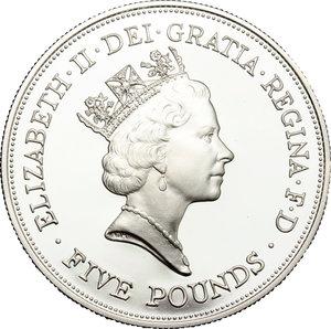 obverse: Great Britain.  Elizabeth II (1952 -). 5 pounds 1990 (28,28 grammes silver sterling)