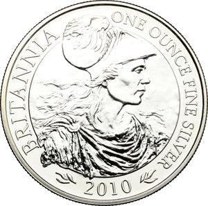 reverse: Great Britain.  Elizabeth II (1952 -). 2 pounds 2010 (one ounce fine silver)