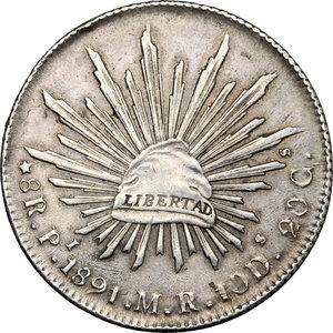 reverse: Mexico.  Republic. 8 reales 1891,  Potosi
