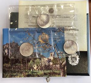 obverse: San Marino. Serie di 3 monete da 500 (2) e 1000 lire commemorative del bimillenario della morte di Virgilio 1981