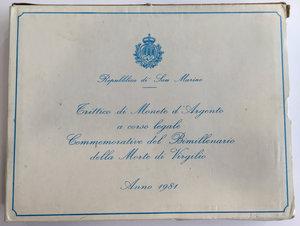 reverse: San Marino. Serie di 3 monete da 500 (2) e 1000 lire commemorative del bimillenario della morte di Virgilio 1981