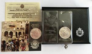 obverse: San Marino. Serie di 2 monete da 500 e 1000 lire commemorative del I Centenario della morte di Giuseppe Garibaldi 1982 in confezione zecca