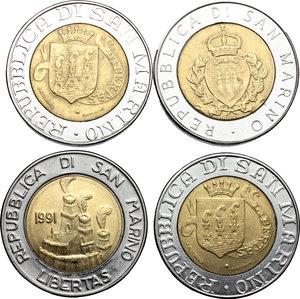 obverse: San Marino. Lotto di 4 monete da 500 lire 1987, 1989 (2), 1991