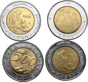 reverse: San Marino. Lotto di 4 monete da 500 lire 1987, 1989 (2), 1991