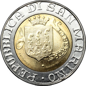 obverse: San Marino. 500 lire 1989
