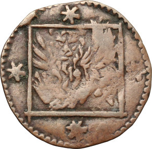 obverse: Venezia.  Monete anonime. Bagattino con la Vergine e leone in quadro