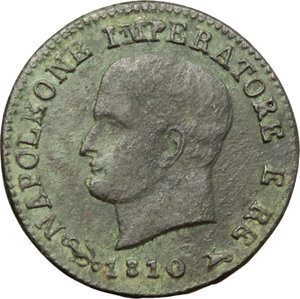 obverse: Venezia.  Napoleone I (1805-1814).. Centesimo 1810