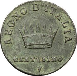 reverse: Venezia.  Napoleone I (1805-1814).. Centesimo 1810
