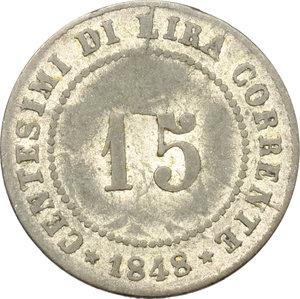 reverse: Venezia.  Governo Provvisorio (1848-1849). 15 centesimi 1848