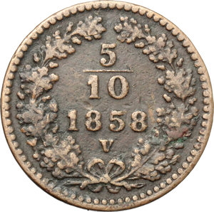 reverse: Venezia.  Francesco Giuseppe  (1848-1816). 1/2 kreuzer 1858
