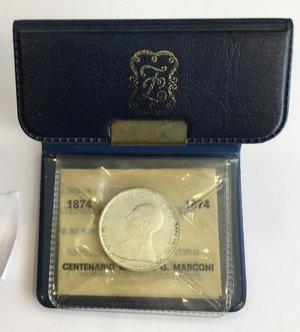 obverse: 500 lire celebrative del centenario della nascita di Guglielmo Marconi 1974 in confezione zecca