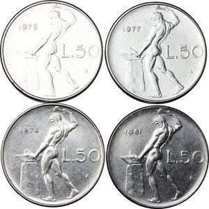 reverse: Lotto di 4 monete da 50 lire 1974, 1977, 1978, 1981
