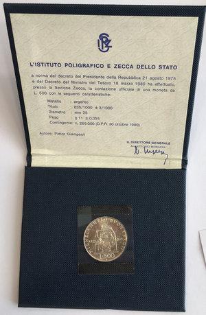 obverse: Repubblica Italiana. 500 lire commemorative del V Centenario della nascita di Michelangelo Buonarroti 1975 in confezione zecca