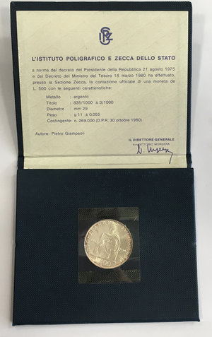 obverse: 500 lire commemorative del V centenario della nascita di Michelangelo Buonarroti 1975 in confezione zecca