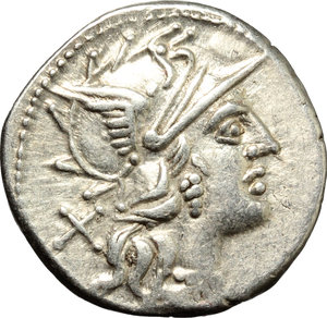 D/ C. Valerius Flaccus. AR Denarius, 140 BC.  D/ Head of Roma right, helmeted. R/ Victoria in biga right; holding reins and whip. Cr. 228/2. AR. g. 3.81  mm. 20.00    VF.