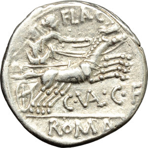 R/ C. Valerius Flaccus. AR Denarius, 140 BC.  D/ Head of Roma right, helmeted. R/ Victoria in biga right; holding reins and whip. Cr. 228/2. AR. g. 3.81  mm. 20.00    VF.