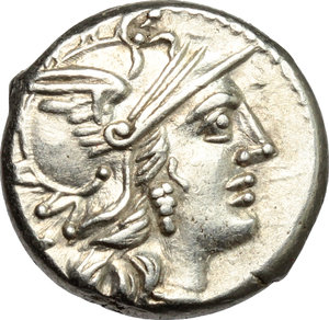 D/ C. Renius. AR Denarius, 138 BC.  D/ Head of Roma right, helmeted. R/ Juno in biga of goats right; holding scepter, reins and whip. Cr. 231/1. AR. g. 3.95  mm. 16.00    Good VF.