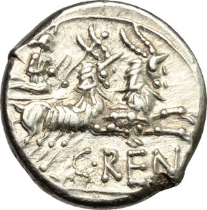 R/ C. Renius. AR Denarius, 138 BC.  D/ Head of Roma right, helmeted. R/ Juno in biga of goats right; holding scepter, reins and whip. Cr. 231/1. AR. g. 3.95  mm. 16.00    Good VF.