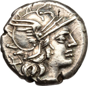 D/ C. Renius. AR Denarius, 138 BC.  D/ Head of Roma right, helmeted. R/ Juno in biga of goats right; holding scepter, reins and whip. Cr. 231/1. AR. g. 3.86  mm. 16.50   Toned. Good VF.
