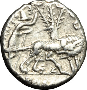R/ Sex. Pompeius. AR Denarius, 137 BC.  D/ Head of Roma right, helmeted; behind, jug. R/ She-wolf standing right; suckling twins; behind, tree with birds; to left, Faustulus. Cr. 235/1. AR. g. 3.88  mm. 19.00    VF.