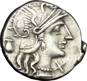 D/ Sex. Pompeius. AR Denarius, 137 BC.  D/ Head of Roma right, helmeted; behind, jug. R/ She-wolf standing right; sucking twins; behind, tree with birds; to left, Faustulus. Cr. 235/1. AR. g. 3.86  mm. 19.00    VF.