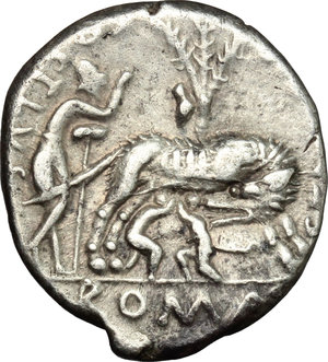 R/ Sex. Pompeius. AR Denarius, 137 BC.  D/ Head of Roma right, helmeted; behind, jug. R/ She-wolf standing right; sucking twins; behind, tree with birds; to left, Faustulus. Cr. 235/1. AR. g. 3.86  mm. 19.00    VF.