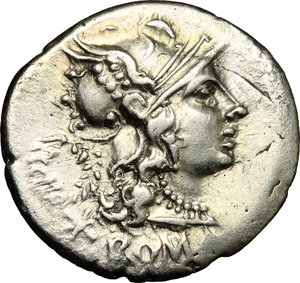 D/ C. Servilius M.f. AR Denarius, 136 BC.  D/ Head of Roma right, helmeted; behind, wreath. R/ Dioscuri galloping in opposite directions. Cr. 239/1. AR. g. 3.84  mm. 21.00    About EF/Good VF.
