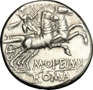 R/ M. Opimius. AR Denarius, 131 BC.  D/ Head of Roma right, helmeted; behind, tripod. R/ Apollo in biga right. Cr. 254/1. AR. g. 3.75  mm. 18.00    About EF/Good VF.