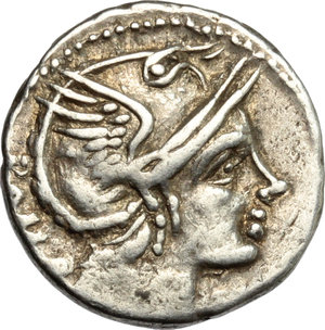 D/ L. Flaminius Chilo. AR Denarius, 109-108 BC.  D/ Head of Roma right, helmeted. R/ Victoria in biga right; holding reins and wreath. Cr. 302/1. AR. g. 3.90  mm. 18.00   Toned. VF.