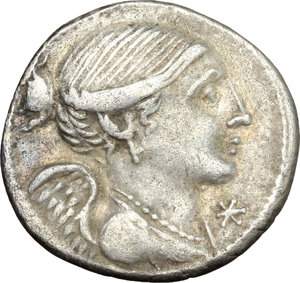 D/ L. Valerius Flaccus. AR Denarius, 108-107 BC.  D/ Bust of Victoria right, draped. R/ Mars walking left, holding spear and trophy over left shoulder; before, apex and behind, corn-ear. Cr. 306/1. B. 11. AR. g. 3.84  mm. 20.00    VF/About VF.