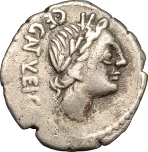 D/ C. Egnatuleius C.f. AR Quinarius, 97 BC.  D/ Head of Apollo right; below, [Q]. R/ Victoria left inscribing shield attached to trophy; in field Q. Cr. 333/1. B. Egnatuleia 1. Syd. 588. AR. g. 1.89  mm. 17.00   Toned. About VF.