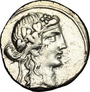 D/ Q. Titius. AR Denarius, 90 BC.  D/ Head of Liber right, wearing ivy-wreath. R/ Pegasus right. Cr. 341/2. AR. g. 3.66  mm. 17.00    Good VF.