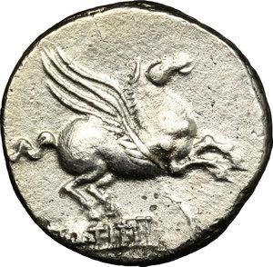 R/ Q. Titius. AR Denarius, 90 BC.  D/ Head of Liber right, wearing ivy-wreath. R/ Pegasus right. Cr. 341/2. AR. g. 3.66  mm. 17.00    Good VF.
