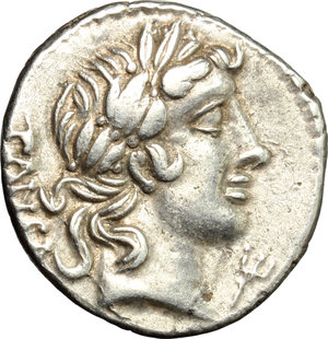 D/ C. Vibius C. f. Pansa. AR Denarius, 90 BC.  D/ Laureate head of Apollo right; behind, PANSA; below chin, trident. R/ Minerva in quadriga right. Cr. 342/5b. AR. g. 3.81  mm. 18.00    About EF.
