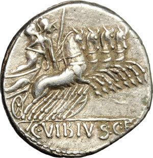 R/ C. Vibius C. f. Pansa. AR Denarius, 90 BC.  D/ Laureate head of Apollo right; behind, PANSA; below chin, trident. R/ Minerva in quadriga right. Cr. 342/5b. AR. g. 3.81  mm. 18.00    About EF.